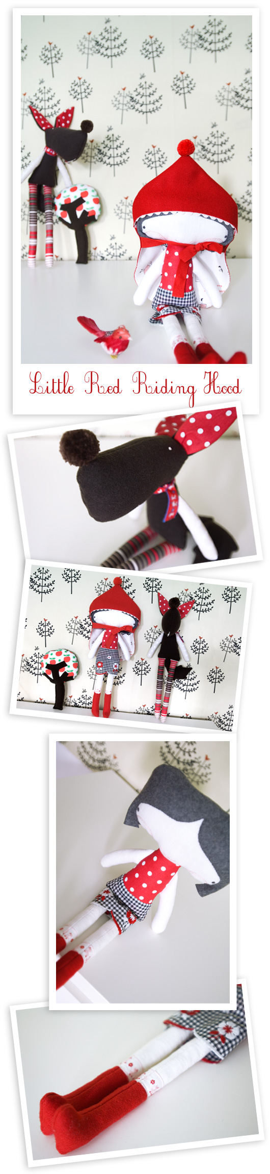 handmade softies from the tale Little Red Riding Hood