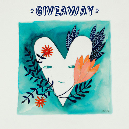 heart watercolor in blue for giveaway by PinkNounou