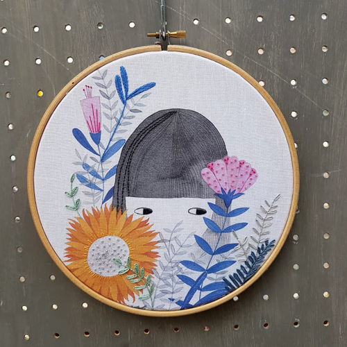 watercolor illustration for embroidered hoop by PinkNounou 1